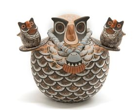 "Jaycee Nahohai (Zuni) Lonkeena Two small owls by Rowena Him Donated by the artists 6""H x 8""W"